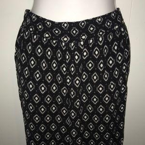 Black with White Diamond Pattern Palazzo Pants